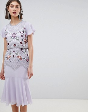 photo Allover Beaded Embroidered Midi Dress by Frock and Frill, color Lilac - Image 1