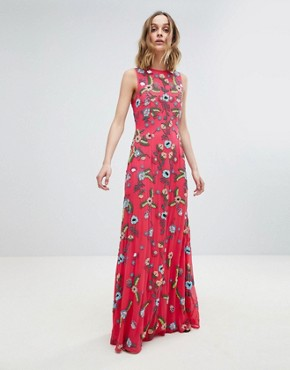 photo Embellished Maxi Dress by Frock and Frill Premium, color Hot Pink - Image 1
