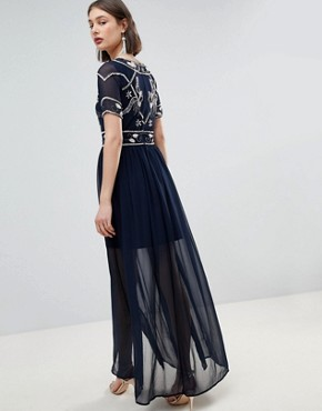 photo Embellished Top Maxi Dress by Frock and Frill, color Navy - Image 2
