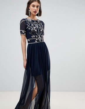 photo Embellished Top Maxi Dress by Frock and Frill, color Navy - Image 1