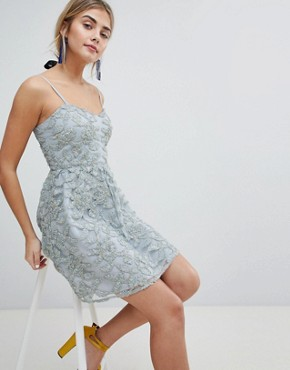 photo 3D Applique Cami Strap Mini Prom Dress by Dolly & Delicious, color Grey/Gold - Image 4