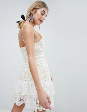 photo All Over Cutwork Lace Skater Dress with Peplum Hem by Dolly & Delicious, color White Base/Yellow - Image 2