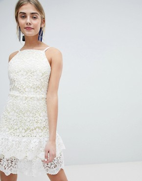 photo All Over Cutwork Lace Skater Dress with Peplum Hem by Dolly & Delicious, color White Base/Yellow - Image 1