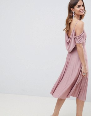 photo Cold Shoulder Cowl Back Pleated Midi Dress by ASOS DESIGN, color Rose - Image 2