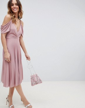 photo Cold Shoulder Cowl Back Pleated Midi Dress by ASOS DESIGN, color Rose - Image 1