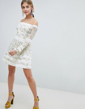 photo Allover Floral Bardot Skater Dress with Fluted Sleeve Detail by Dolly & Delicious, color Multi Floral - Image 4