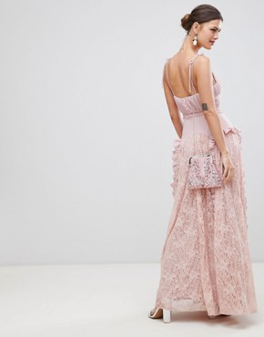 photo Cami Strap Maxi Dress with Lace Insert Skirt by True Decadence, color Dusty Pink - Image 2