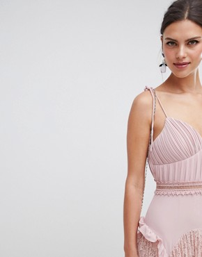 photo Cami Strap Maxi Dress with Lace Insert Skirt by True Decadence, color Dusty Pink - Image 3