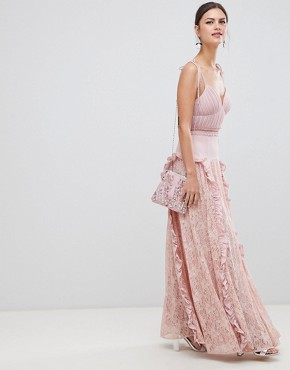 photo Cami Strap Maxi Dress with Lace Insert Skirt by True Decadence, color Dusty Pink - Image 4