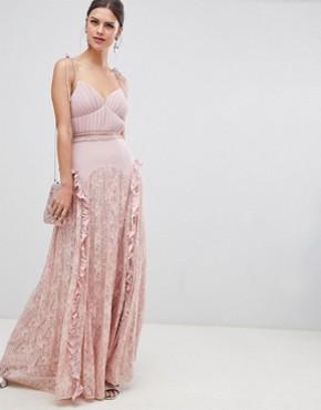 photo Cami Strap Maxi Dress with Lace Insert Skirt by True Decadence, color Dusty Pink - Image 1