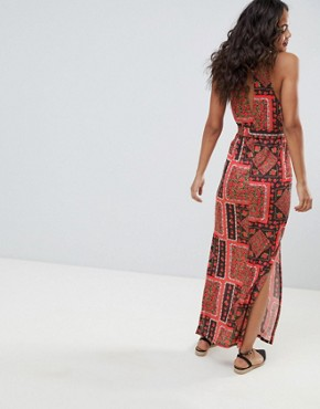 photo Scarf Print Maxi Sundress with Belt by ASOS DESIGN Tall, color Multi - Image 2