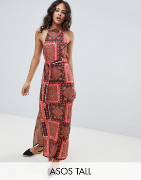 photo Scarf Print Maxi Sundress with Belt by ASOS DESIGN Tall, color Multi - Image 1