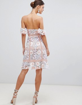 photo Off Shoulder Embroidered Dress by True Decadence, color Pink Blue Embroidery - Image 2