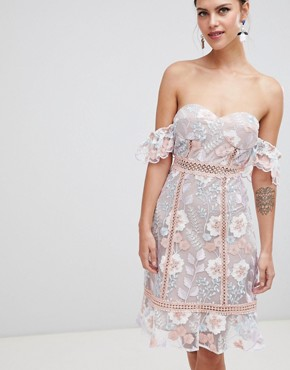 photo Off Shoulder Embroidered Dress by True Decadence, color Pink Blue Embroidery - Image 1