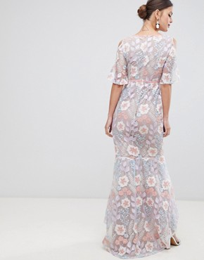 photo Embroidered Cold Shoulder Maxi Dress by True Decadence, color Pink Blue Embroidery - Image 2