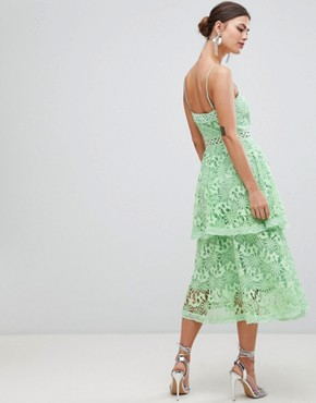 photo Square Neck Cami Strap Midi Lace Dress with Ruffle Layered Skirt by True Decadence, color Bright Mint - Image 2