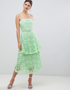 photo Square Neck Cami Strap Midi Lace Dress with Ruffle Layered Skirt by True Decadence, color Bright Mint - Image 4