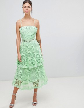 photo Square Neck Cami Strap Midi Lace Dress with Ruffle Layered Skirt by True Decadence, color Bright Mint - Image 1