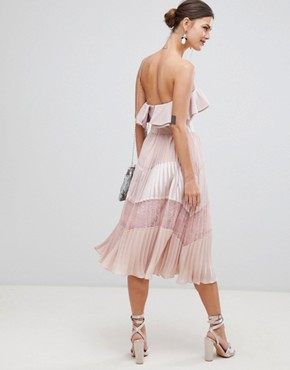 photo Sleeveless Dress with Ruffle Trim and Lace Insert Pleated Skirt by True Decadence, color Dusty Pink - Image 2