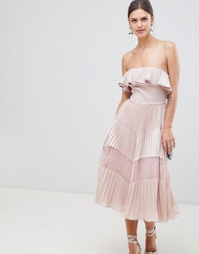 photo Sleeveless Dress with Ruffle Trim and Lace Insert Pleated Skirt by True Decadence, color Dusty Pink - Image 1