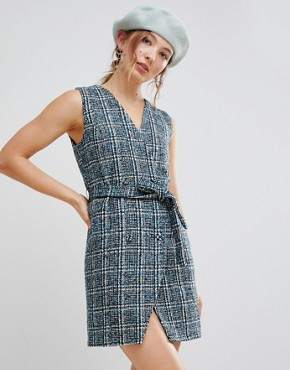 photo Sleeveless Blazer Dress in Textured Tweed by Unique 21, color Blue Check - Image 1