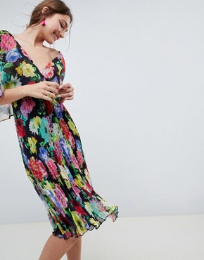 photo Flutter Sleeve Midi Dress with Pleat Skirt in Floral Print by ASOS DESIGN, color Floral - Image 1