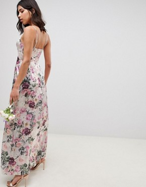 photo Bridesmaid Cami Maxi Dress with Lace Insert in Pretty Floral Print by ASOS DESIGN, color Floral - Image 2