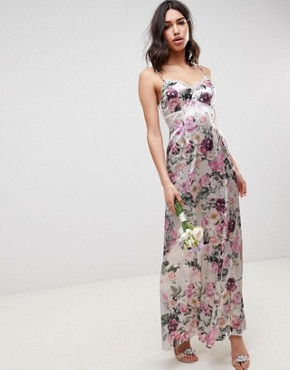 photo Bridesmaid Cami Maxi Dress with Lace Insert in Pretty Floral Print by ASOS DESIGN, color Floral - Image 1