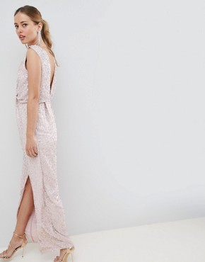 photo Drape Knot Front Scatter Embellished Sequin Maxi Dress by ASOS DESIGN, color Nude - Image 2