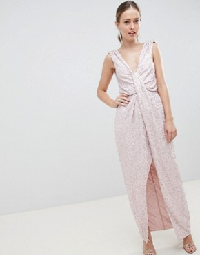 photo Drape Knot Front Scatter Embellished Sequin Maxi Dress by ASOS DESIGN, color Nude - Image 1