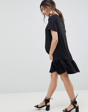 photo Maternity Ruffle Hem Mini t-shirt Dress by ASOS DESIGN, color Black - Image 2