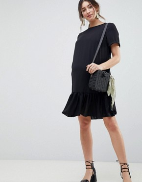photo Maternity Ruffle Hem Mini t-shirt Dress by ASOS DESIGN, color Black - Image 1