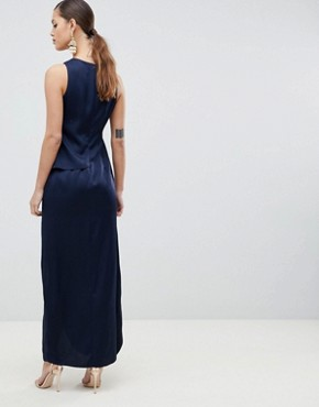 photo Satin Maxi Dress with Asymmetric Layered Skirt by ASOS DESIGN, color Navy - Image 2