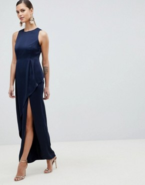 photo Satin Maxi Dress with Asymmetric Layered Skirt by ASOS DESIGN, color Navy - Image 1