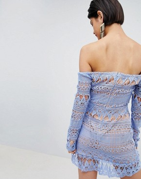 photo Frill Lace Bardot Dress by Missguided, color Blue - Image 2