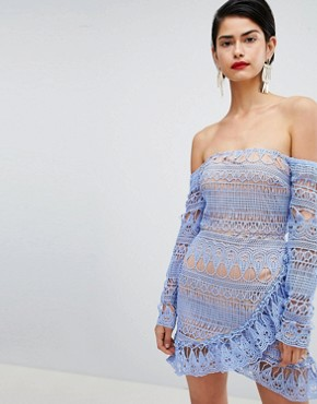 photo Frill Lace Bardot Dress by Missguided, color Blue - Image 1