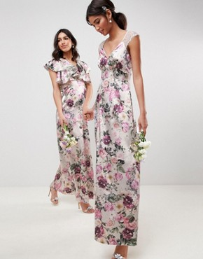 photo Bridesmaid Lace Insert Maxi Dress in Pretty Floral Print by ASOS DESIGN, color Floral - Image 1