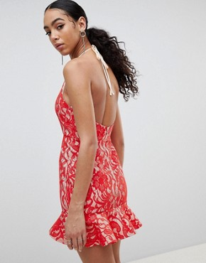 photo Lace Frill Hem Dress by Missguided, color Red - Image 2