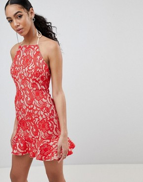 photo Lace Frill Hem Dress by Missguided, color Red - Image 1