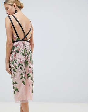 photo Floral Embroidered Pencil Midi Dress by ASOS DESIGN, color Floral - Image 2