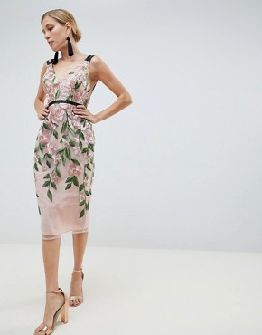 photo Floral Embroidered Pencil Midi Dress by ASOS DESIGN, color Floral - Image 1
