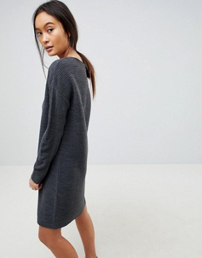 photo Jumper Dress in Ripple Stitch by ASOS DESIGN, color Grey Marl - Image 2
