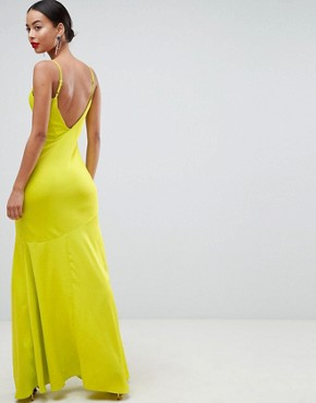 photo Bias Cut Satin Slip Maxi Dress with Drape Neck by ASOS DESIGN Tall, color Lime - Image 2