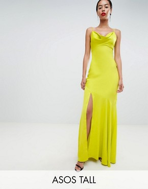 photo Bias Cut Satin Slip Maxi Dress with Drape Neck by ASOS DESIGN Tall, color Lime - Image 1