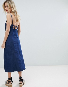 photo Cami Strap Split Front Chambray Dress by Warehouse, color Dark Wash - Image 2