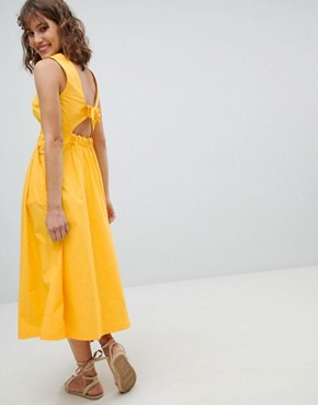 photo Tie Back Midi Dress by Warehouse, color Yellow - Image 2