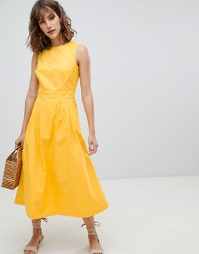 photo Tie Back Midi Dress by Warehouse, color Yellow - Image 1