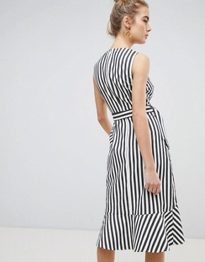 photo Thick Stripe Wrap Ruffle Dress by Warehouse, color Cream - Image 2