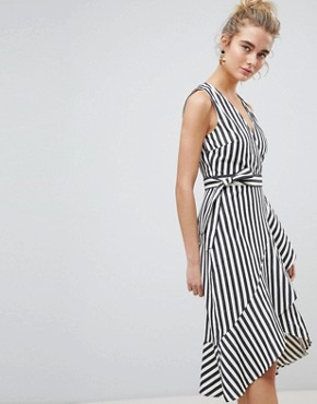 photo Thick Stripe Wrap Ruffle Dress by Warehouse, color Cream - Image 1