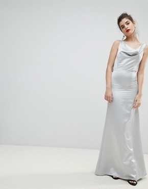 photo Satin Bow Back Maxi Dress by True Violet, color Silver - Image 2